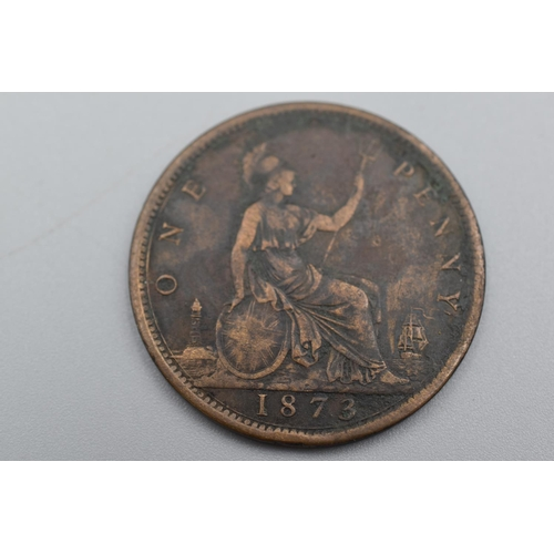 14 - Victoria 1873 Young Head Beaded Border Penny...