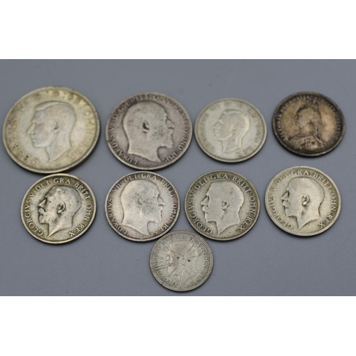 15 - Selection of 9 Silver British Coins (Victoria to George VI)...