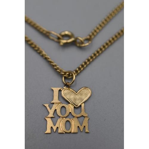 16 - Gold 375 I Love Mum Pendant Necklace...