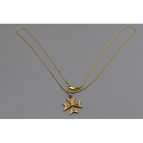 17 - Gold 375 Maltese Cross Pendant Necklace Complete with Presentation Box...