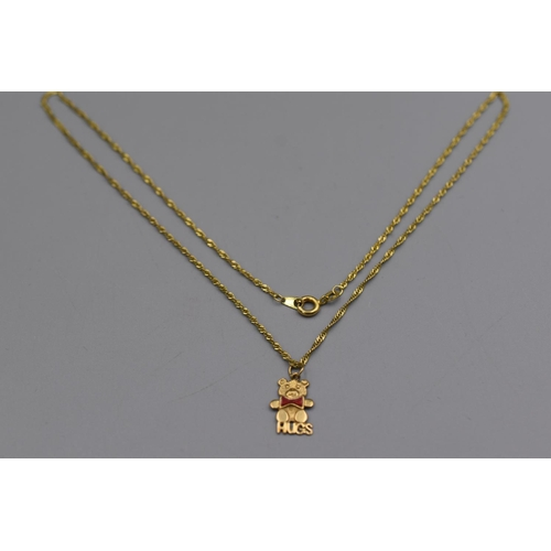19 - Hallmarked 375 Gold Bear (Hugs) Pendant Necklace Complete with Presentation Box...