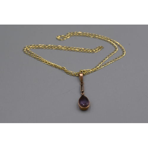 20 - Gold 9ct Amethyst Stoned Pendant Necklace Complete with Presentation Box...