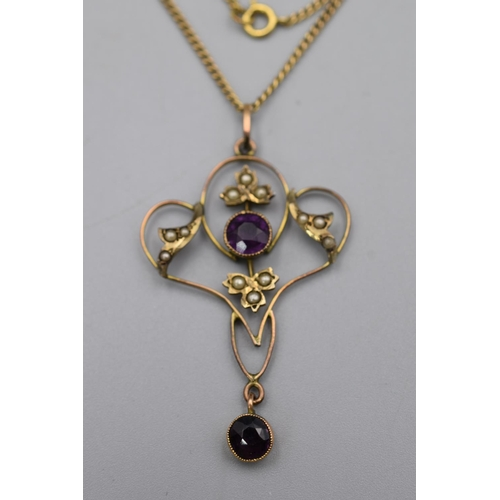 21 - Gold 9ct Floral Amethyst Stoned Pendant Necklace Complete with Presentation Box...
