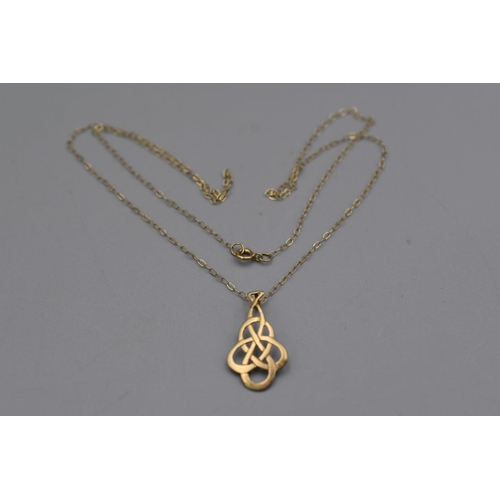 23 - Gold 375 Celtic Necklace Pendant Complete with Presentation Box...