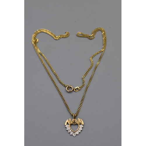 25 - Gold 375 Nan Pendant Necklace Complete with Presentation Box...