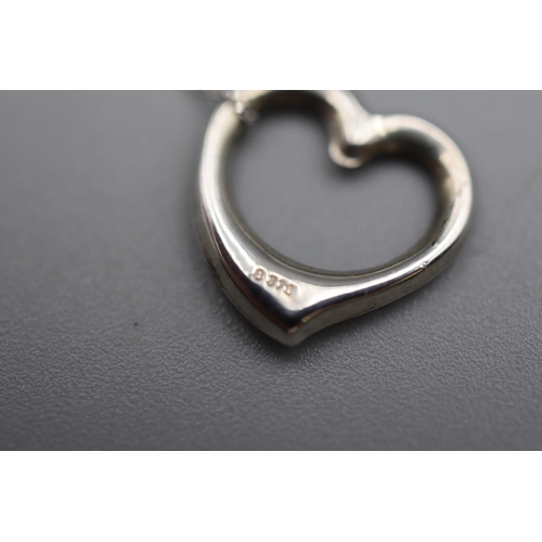 27 - White Gold 375 Heart Shaped Pendant Necklace Complete with Presentation Box...