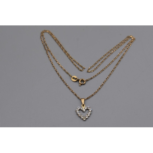 28 - Gold 375 Necklace Complete with Presentation Box and Diamante Heart Pendant...