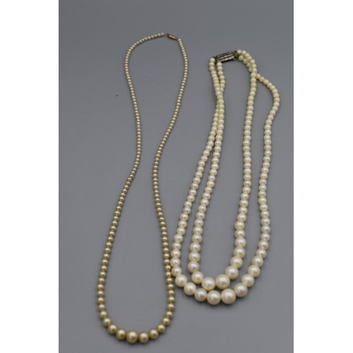 29 - Single Strand Pearl Necklace with 9ct Gold Clasp and a 2 Strand Pearl Necklace with Silver Clasp...