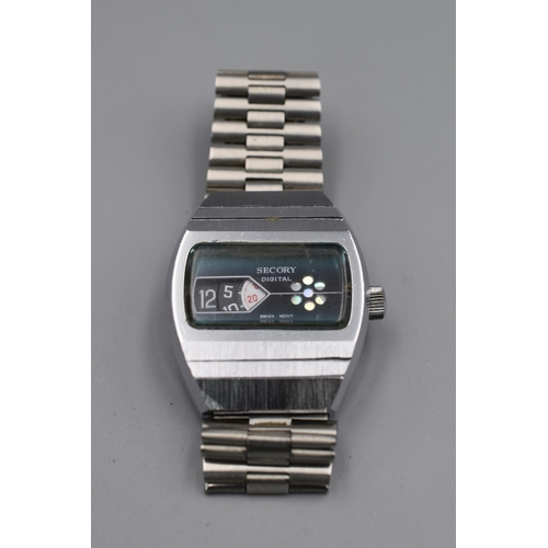 34 - Vintage 1970s Secory Digital Jump Hour Stainless Steel Watch...