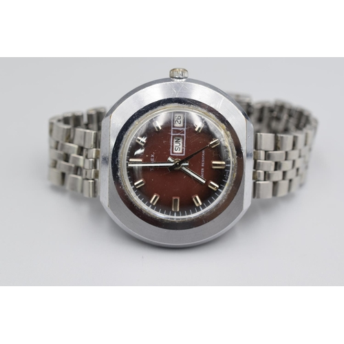 36 - Timex Automatic Day Date Adjust Gents Stainless Steel Watch...