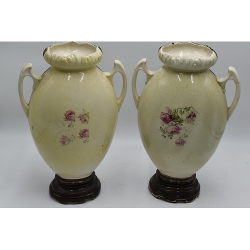 197 - Pair of Antique English Porcelain Hand Painted Vases (14.5