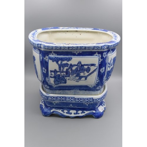 214 - Chinese Blue and White Planter depicting Oriental Scenes (Marked to Base) Complete with Ceramic Plin...