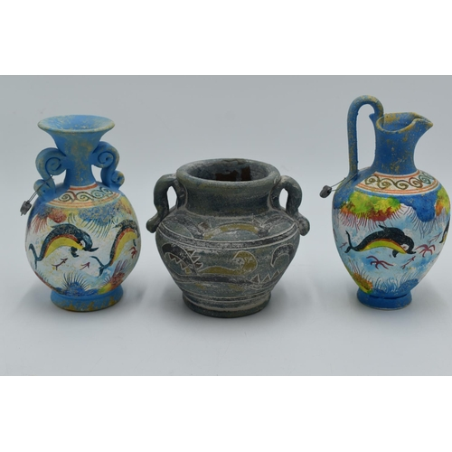 218 - Two Hand Made Reproduction Greek Museum Urns complete with lead tags plus one other...