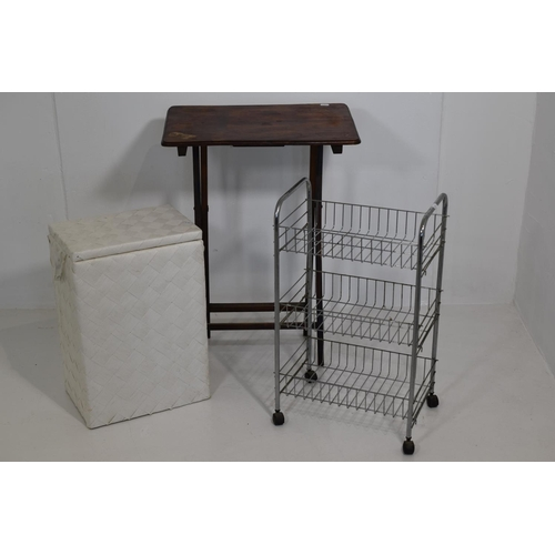 225 - Side Table, Linen Box and a Storage rack...