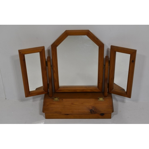 232 - Pine Vanity Mirror with Storage Compartment and fully adjustable mirrors 23