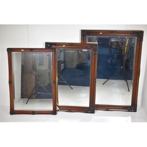 247 - Three Matching Bevelled Edge Mirrors Largest 41