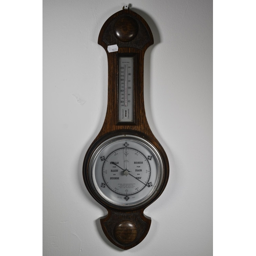 217a - Wall Mounted Barometer and Thermometer in Wood case...