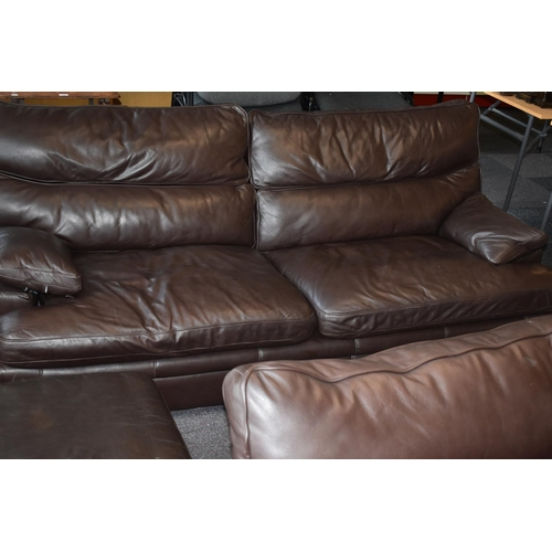 224 - Two G Plan Real Leather Brown Sofa's (Largest 84