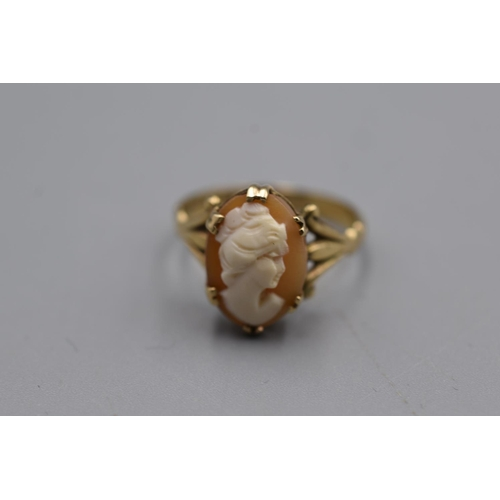 2 - Hallmarked Birmingham 375 Gold Cameo Ring (Size R) Weight 3.6 grams...