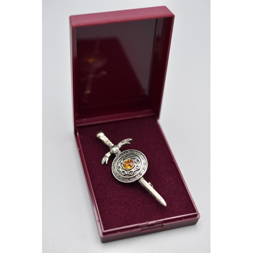 8 - Celtic Style Sword Brooch in Presentation Case...