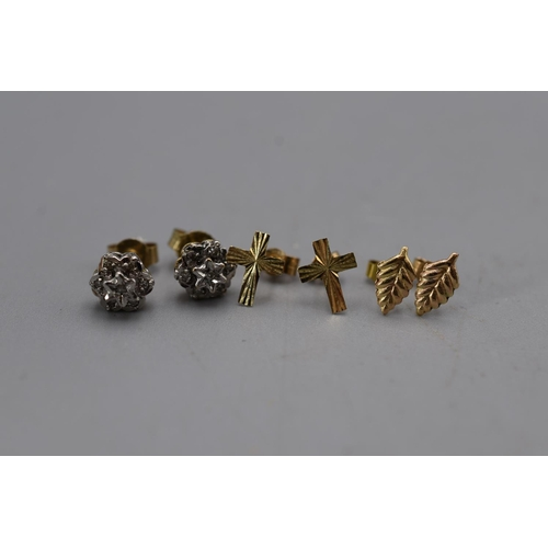 13 - Three Set's of 9ct Gold Earring's...