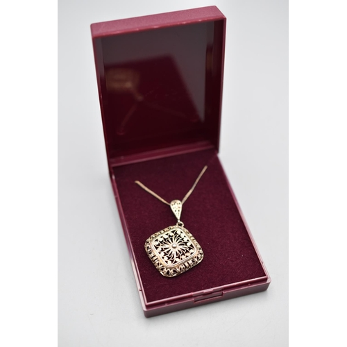 14 - Sterling Silver Filagree Pendant Necklace Complete with Presentation Box...