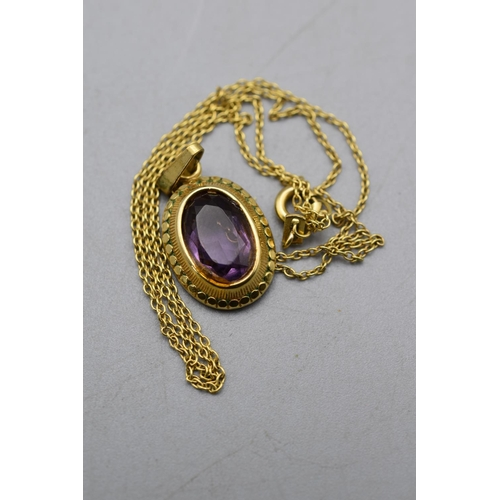 17 - Rolled Gold Amethyst Stoned Pendant Necklace...