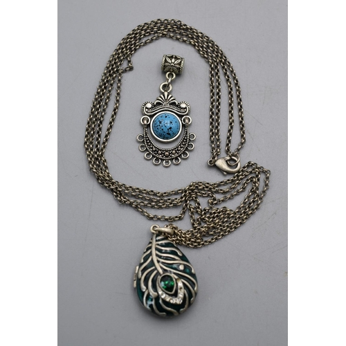 20 - Locket Pendant with Chain and Moon Pendant...