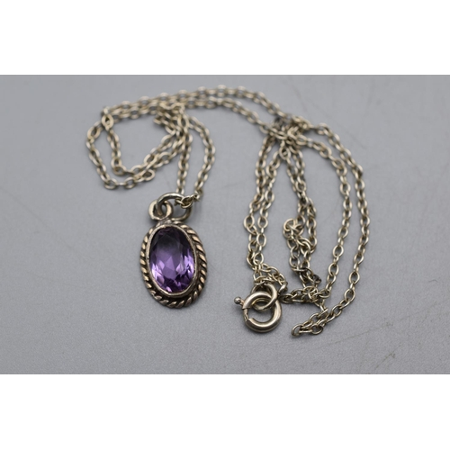 24 - Silver 925 Amethyst Stoned Pendant Necklace...