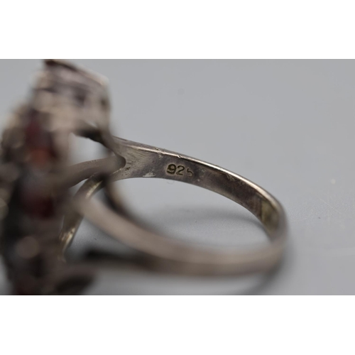 30 - Vintage Silver 925 Red Stoned Floral Ring ( Size S)...