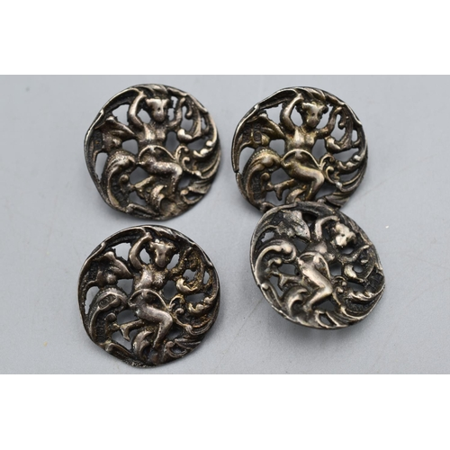 31 - Set of 4 Indian Silver Dress Button's...