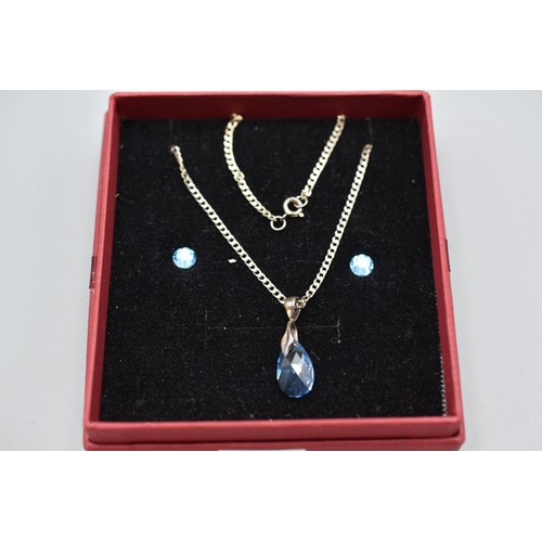 33 - Silver 925 Blue Stoned Pendant Necklace and Earring Set...