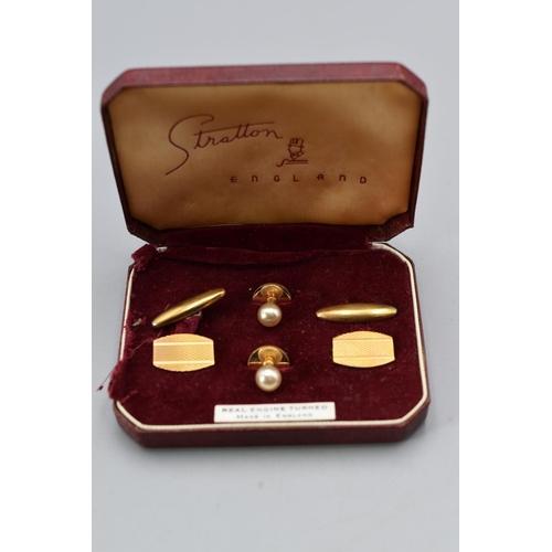 36 - Set of Vintage Stratton Cufflink and Stud Set in Case...