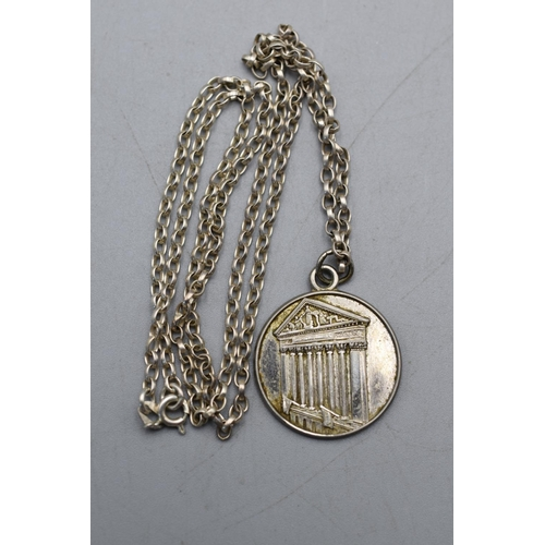 37 - Hallmarked Silver Coliseum Pendant and Chain Complete with Presentation Box...