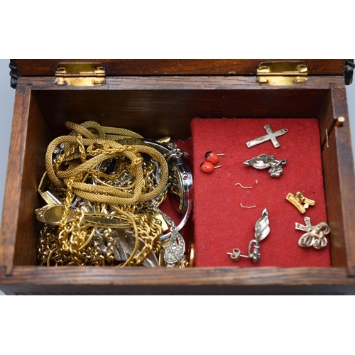 47 - Selection of Unsorted Jewellery on Wooden Storage Box with Paris Decoration...