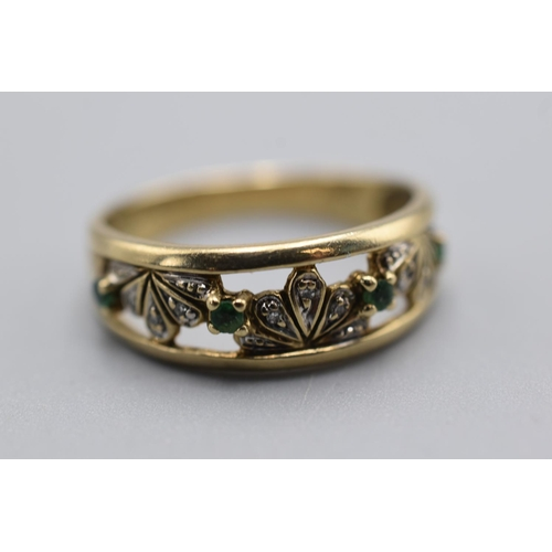 1 - Gold 375 Emerald and Diamond Art Deco Ring (Size U) Complete with Presentation Box...