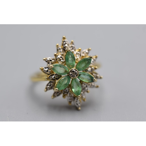 3 - Gold on Silver Emerald Stone Ring (Size R) Complete with Presentation Box...