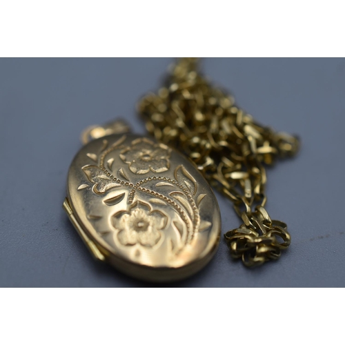 5 - Gold 9ct Locket with Broken 9ct Gold Chain (weight 3.5 grams)...