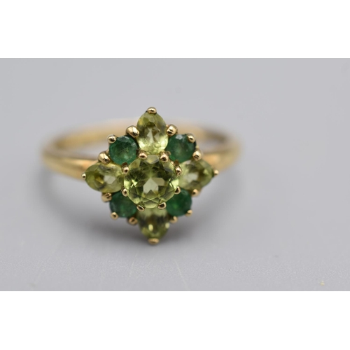 8 - Gold 375 Ring with Green Peridot and Emerald Stone's (Size S) Complete with Presentation Box...