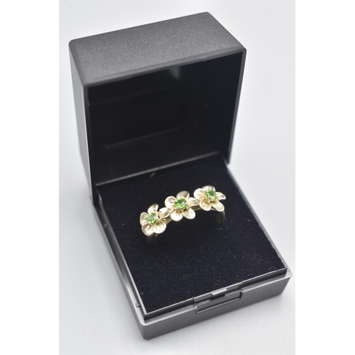 9 - Silver 925 Emerald Stoned Ring (Size V) Complete with Presentation Box...