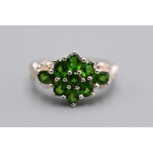 10 - Silver 925 Chrome Diopside Multi-stoned Ring (Size P) Complete with Presentationm Box...
