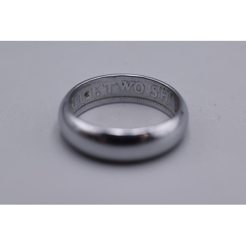 12 - Silver Band Ring with Two Shillings Inscription on the inside...