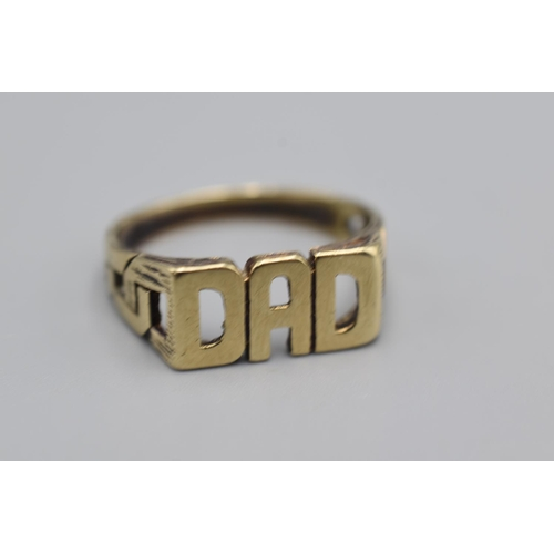 14 - Hallmarked 375 Gold DAD Ring (Size X) Complete with Presentation Box (4.44 grams)...