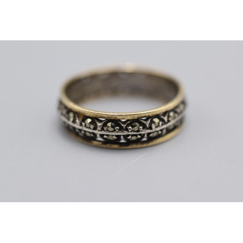 15 - Gold and SIlver Band Ring with Marcasite...