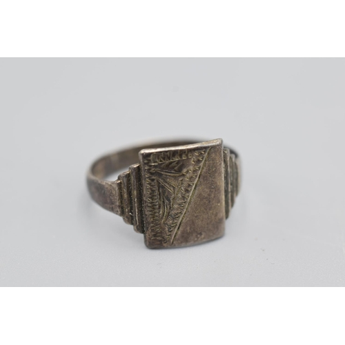 16 - Vintage Silver Signet Ring (Size R) Complete with Presentation Box...