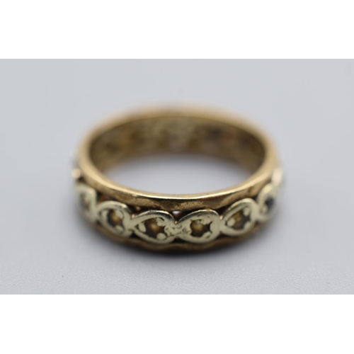 17 - Unmarked Gold Ring with clear stones...