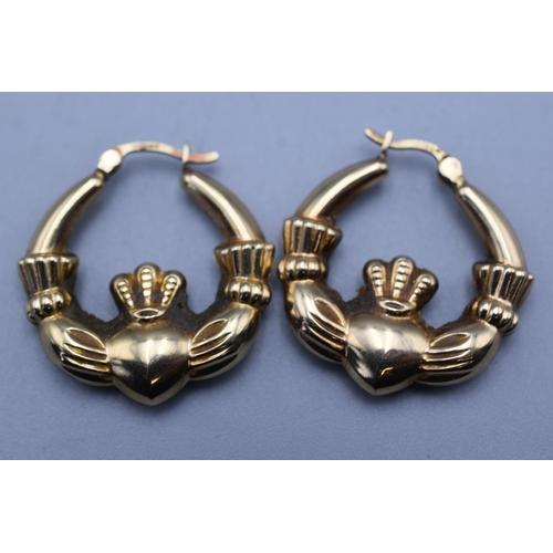 18 - Pair of Claddagh 9ct Gold Hoop Earrings...