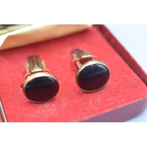 23 - Pair of Diamond Cut Gold Plated Cufflinks in Presentation Box...