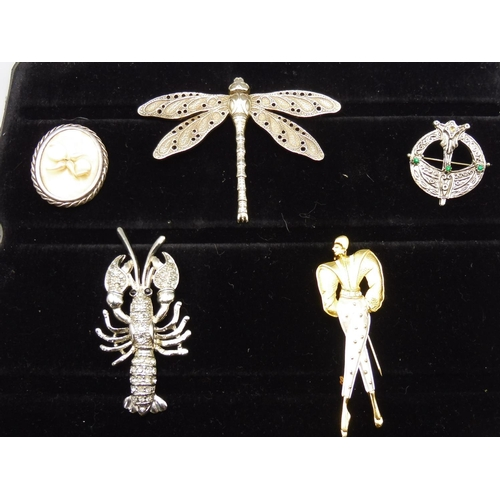 43 - Selection of Decorative Brooches including Dragonfly, Lobster, Celtic and More...