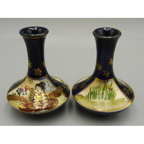 54 - Pair of Miniature Japanese Hand Painted Satsuma Bud Vases (2.5
